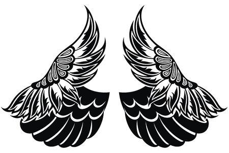Flügel lokalisiert auf weißem Hintergrund. Gestaltungselement für Logo, Etikett, Emblem, Zeichen.