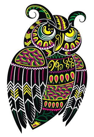 Patterned owl. Totem, tattoo design bird.