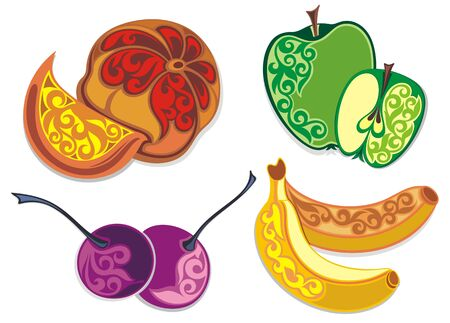 Isolated fruits. Cherries. Apple Banana.Orange Stock Illustratie