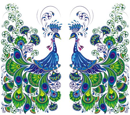 Peacock drawing fantasy. Beautiful vector peacock Stock Illustratie