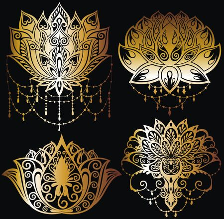 Lotus flowers silhouettes. Set of four vector illustrations Stock Illustratie