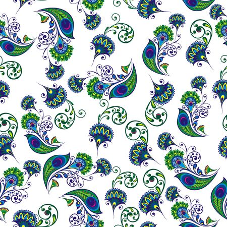 Seamless floral pattern. Pattern with stylized peacock feather