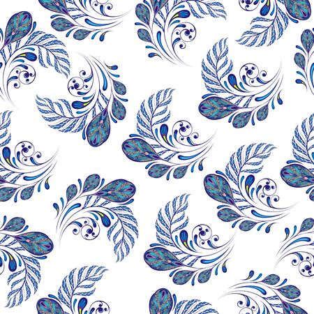 Floral peacock feather motif. Fashion textile Stock Illustratie