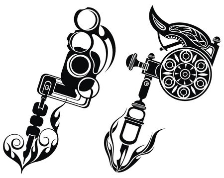 Tattoo machines. Isolated on white background.