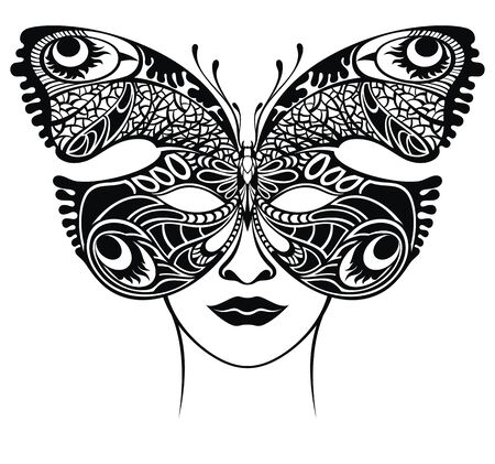 Masquerade mask. Venetian lacy butterfly filigree mask template Stock Illustratie