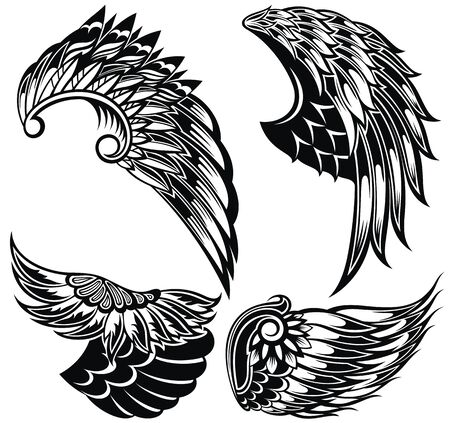 Black and white set of vector wings. Vector wing shapes. Wing icons. Stock Illustratie
