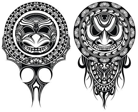 Stammesmasken, Zierelemente. Vektorillustration von Masken mask