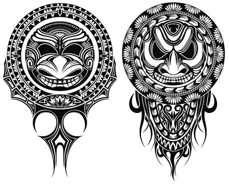 Tribal masks, ornamental elemetns. Vector illustration of masks