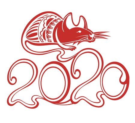Happy Chinese New Year 2020 year. Chinese Zodiac Sign Year of Rat