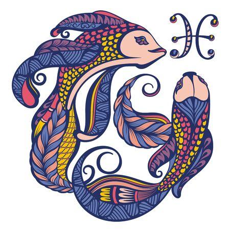 Piscis. Signo del zodiaco. Símbolo astrológico, horóscopo en blanco Ilustración de vector