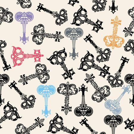 Ornamental vintage keys. Antique keys. Stock Illustratie