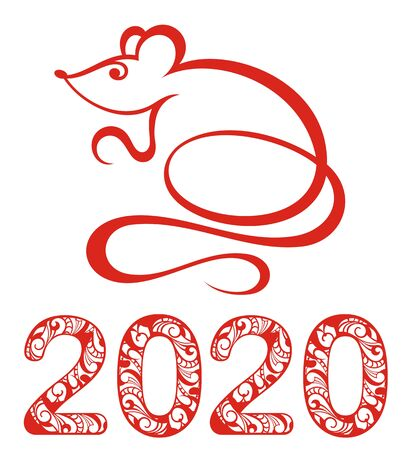 Chinese Zodiac Sign Year of Rat, Red paper cut rat on white background