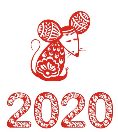 Chinese Zodiac Sign Year of Rat, Red paper cut rat