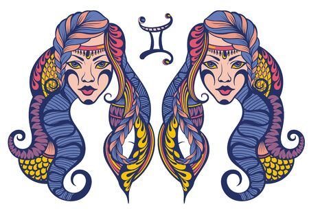 Gemini Zodiac sign. Astrological, horoscope symbol Stock Illustratie