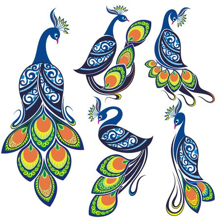 Peacocks. Peacock vector set.