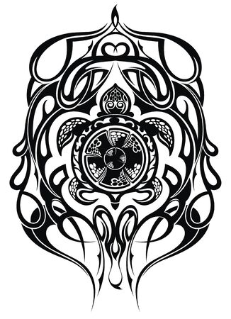 Ethnic style turtle tattoo. Graphic sea turtle, vector illustration of sea turtle