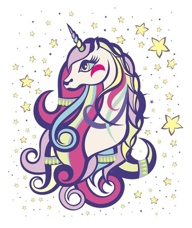 Beautiful unicorn head. Unicorn vector illustration for children design