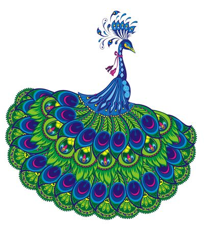 Peacock drawing fantasy. Vector illustration of peacock Stock Illustratie