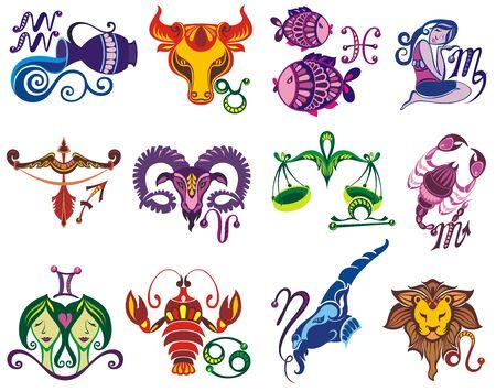 Establecer ilustración con los signos del zodíaco de dibujos animados