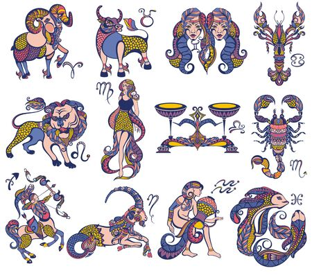 干支アイコンのセット。牡羊座、レオ、ジェミニ、トーラス、サソリ、アクエリアス、魚座、射手座、天秤座、乙女座、山羊座、癌。