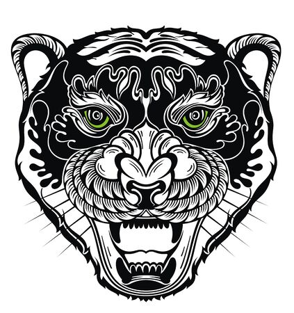 Angry tiger face. Hunting style lion