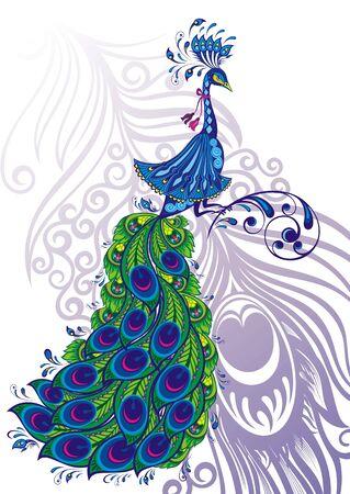Fantasy Peacock drawing. Beautiful peacock bird.