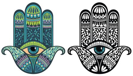 Illustration of Hamsa with boho pattern. Buddhas hand. Vector element for your sketch of tattoo