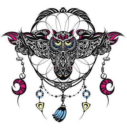Owl - vector illustration. Icon design. Indian dream catcher Ilustração