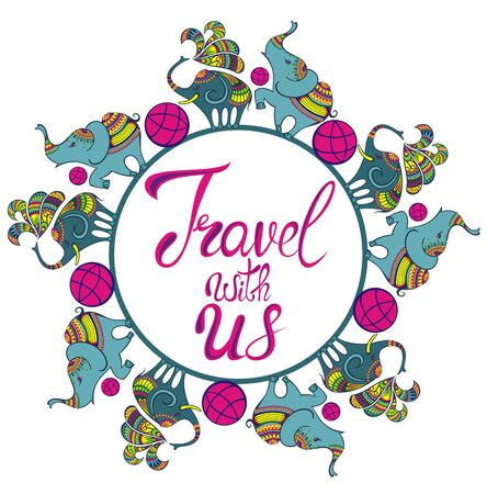 Travel icon. Handwritten lettering. Label vector illustration