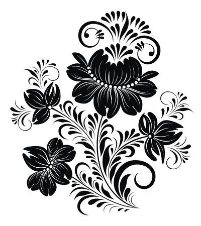 Floral element. Stylized floral bouquet. Decorative composition of flowers, leaves Ilustração