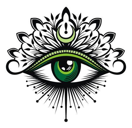 Tattoo flash. Eye of Providence. Masonic symbol. All seeing eye