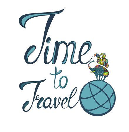 Travel set icon. Handwritten lettering. Label vector illustration