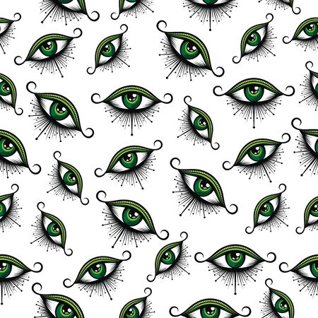 Seamless pattern in the style of eyes. The pattern for the fabric cover, the book. Ilustração
