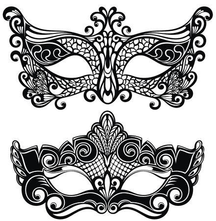 Carnival festive masks isolated on white background