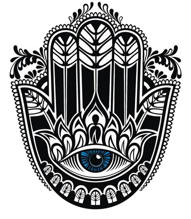 Hamsa, hand of Fatima, vector illustration