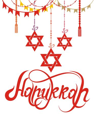 Happy Hanukkah holiday lettering with David Star