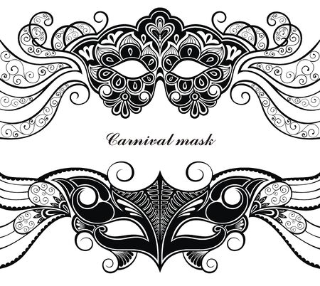Mask silhouette. Masks carnival italian masquerade