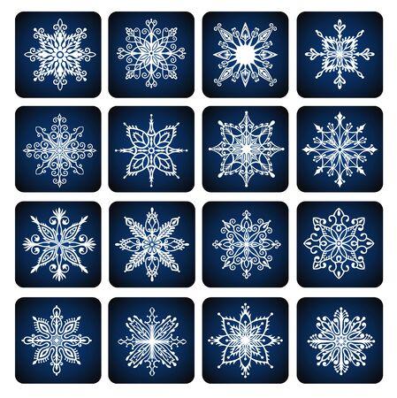 Set of vector snowflakes. Cute snowflakes collection Ilustração
