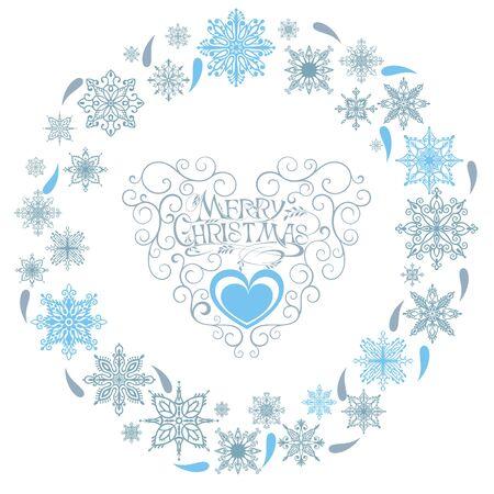 Xmas card with snowflakes. Christmas wreath vector