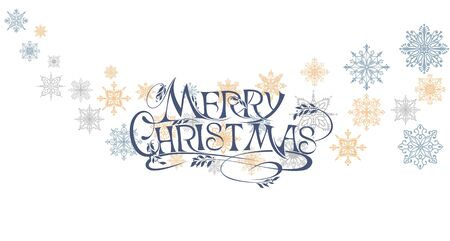 Merry christmas lettering banner with snowflakes