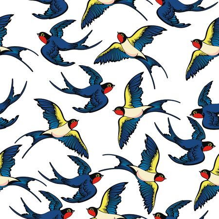 Pattern with birds swallows.