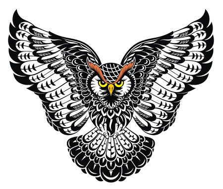 Illustration owl tattoo art. Patterned illustration of bird for tattoo, poster, print, t-shirt.