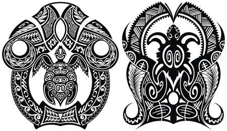 Traditional Maori tattoo design with turtle Ilustração