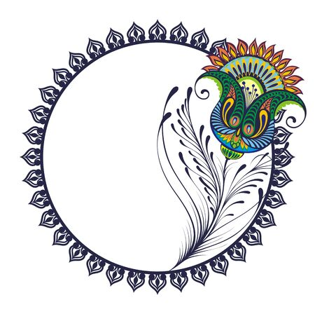 Peacock plume. Vector isolated frame with peacock feather