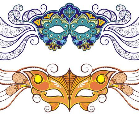 Carnival masks. Greeting card, party invitation