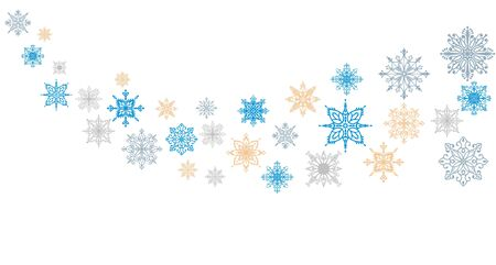 Wave snowflake background. Set of vector snowflakes