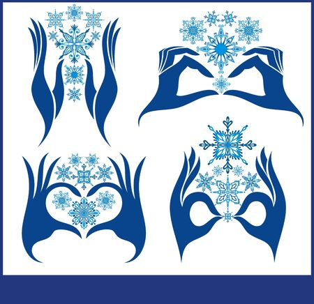 Set of vector snowflakes. Snowflake icons with hands