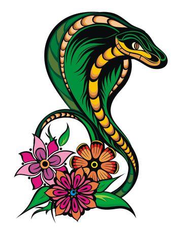 Vector illustration of snake tattoo style Ilustração