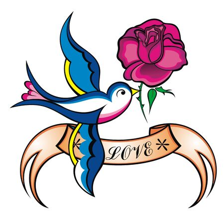 Old-school styled tattoo with a swallow, banner and rose Ilustração