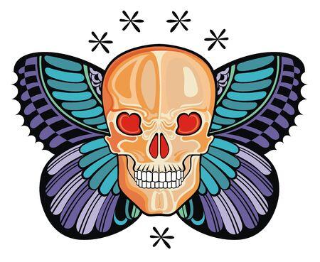 Butterfly Skull Tattoo. Vector abstract illustration Ilustração